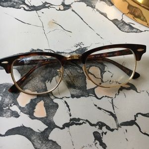 Ray ban club master gold and tortoise glasses